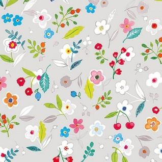 Ambiente Servietten TILLY GREY Hellgrau Blumen bunt Blätter Früchte 20 Stk 33x33