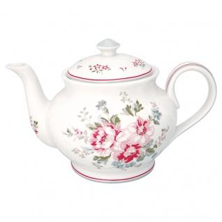 Greengate Teekanne ELOUISE Weiß Rot Kanne Porzellan Geschirr mit Blumen 1 Liter