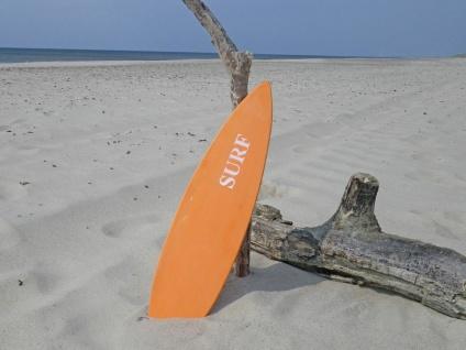 Schild SURFBOARD Orange Aufdruck SURF Wand Deko Objekt Holz 15x60 cm Strand