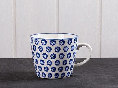 IB Laursen Becher LIVA blau weiß Blumen Geschirr Tasse mit Henkel