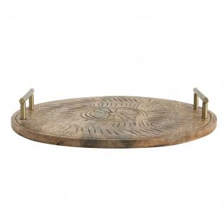 Bloomingville Tablett MANGO Holz mit Griffen 50cm rund Serviertablett Tapasbrett