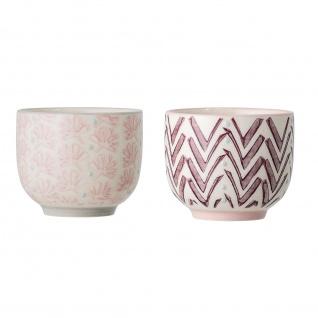 Bloomingville Espresso Tasse MAYA 2er Set Keramik Becher Geschirr Rosa Rot 100ml