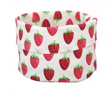 Krasilnikoff Brotkorb Groß ERDBEERE weiß Baumwolle rote Erdbeeren Tischkorb