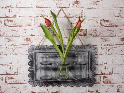 Deko-Vase HENRIETTE 3er mit Kordel. 3 Glas Vasen. Metall Schild. Vintage grau