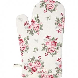 Greengate Ofenhandschuh CHARLINE Weiß Blumen Grill Handschuh BBQ Handschuh