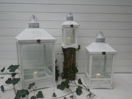 Laterne ROMANTICA 37 cm Gartenlaterne Holz weiß Windlicht Shabby Chic Landhaus - Vorschau 3