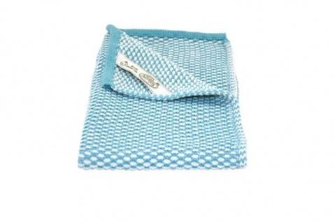 Solwang Gästehandtuch Natur / Azur gestrickt Handtuch Bio Baumwolle 32x47