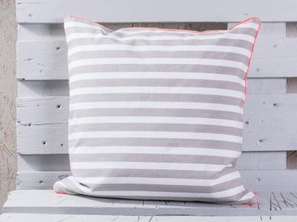 Pad Kissen CHETTO Streifen beige weiß gestreift Maritim Kissenhülle 50x50 Pad Co