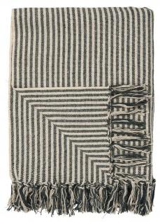 IB Laursen PLAID Creme Schwarz Streifen Decke Baumwolle Wolldecke Kuscheldecke
