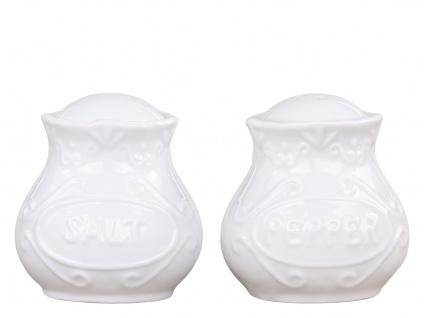Chic Antique Salz & Pfeffer Set PROVENCE Porzellan Geschirr Weiß Streuer