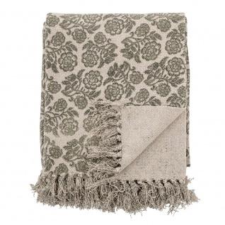 Bloomingville Decke RITCHI Grau Grün Recycelt Baumwolle 130x150 Wolldecke