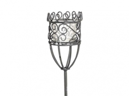 Gartenstab Windlicht GRETA Metall Gartenstecker 100cm Glas Einsatz Vintage Look - Vorschau 2