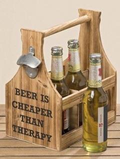 Flaschenträger Holz BEER THERAPY mit Öffner Flaschenhalter Bierträger Getränkeha