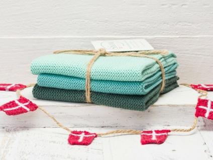 Solwang Wischtuch PETROL KOMBI gestrickt 3er Küchentuch Spültuch Putztuch Lappen