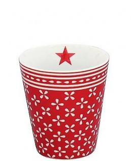 Krasilnikoff Becher Happy Mug DAISY Rot Tasse Porzellan Kaffeebecher