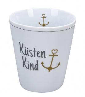 Krasilnikoff Becher Happy Mug KÜSTENKIND ANKER Gold Kaffeebecher 250 ml Tasse