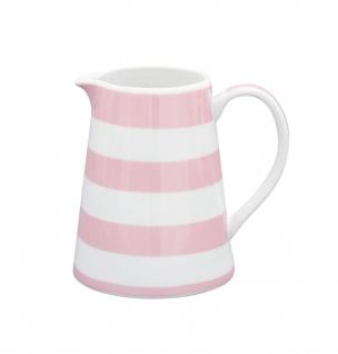 Krasilnikoff Milchkännchen STREIFEN Rosa Porzellan pink weiß gestreift