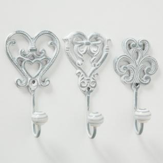 Wandhaken MARSEILLE Metall Weiß 3er Set Garderoben Haken