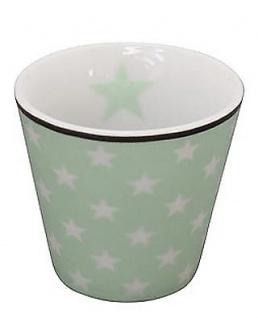 Krasilnikoff ESPRESSO Tasse STERNE Grün Porzellan weiße Stern Becher Kaffee