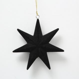 Tannenbaum Hänger STERN Schwarz Samt 7 Zacken Weihnachtsdeko zum hängen 12 cm
