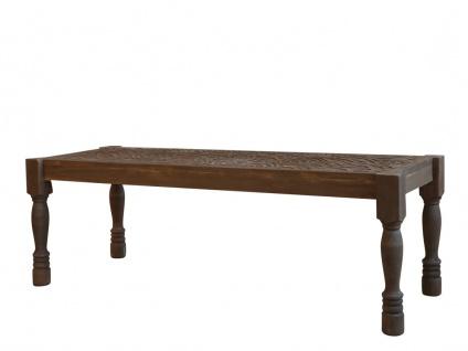 Chic Antique Sitzbank mit Schnitzereien Holz Bank 43x123 cm