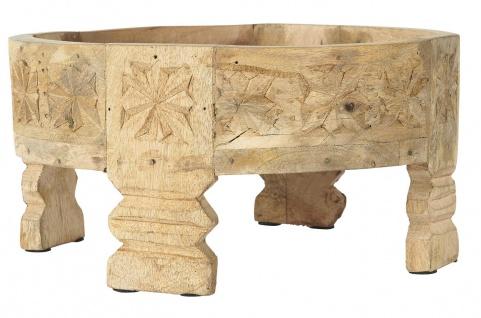 IB Laursen Tablett auf Füßen mit Schnitzereien UNIKA 30 cm Pedestal Rund