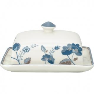 Greengate Butterdose MOZY Weiß Blau Porzellan Geschirr mit Blumen 12x16 cm