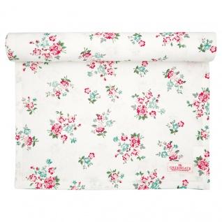Greengate Tischläufer SONIA Weiß Rot Blumen Baumwolle 45x140 cm Tischdecke