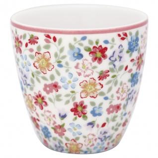 Greengate MINI Latte Cup CLEMENTINE Weiss Blumen Rot Blau Espresso Tasse 130 ml - Vorschau