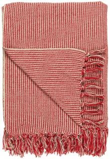 IB Laursen Plaid Rot / Creme Streifen Muster 130x160 Wolldecke Fransen Decke
