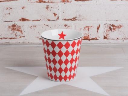 Krasilnikoff Happy Mug Becher HARLEKIN Rot Rauten weiß Stern Porzellan