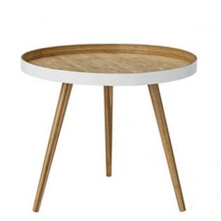Bloomingville Beistelltisch Weiß Bambus Holz Tisch Kaffeetisch 60 cm Rund