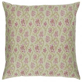 IB Laursen Kissenhülle Olive mit Himbeer farbigen Blumen 50x50 Kissenbezug