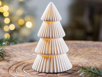 Bloomingville LED Tannenbaum Porzellan weiß 13 cm Weihnachtsdeko Weihnachten