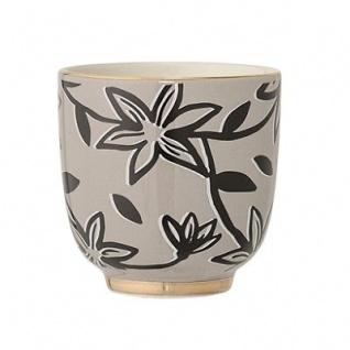 Bloomingville Becher HANNAH Tasse ohne Henkel grau Goldrand Blumen Geschirr Kera