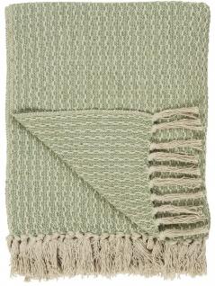 IB Laursen Plaid Grün Creme Baumwolle Decke 130x160 Wolldecke Kuscheldecke