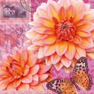 Ambiente Servietten SUMMER DAHLIA Orange Pink DAHLIEN Blumen 20 Stck 3-lagig 33x