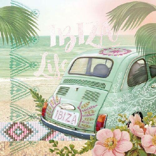 Ambiente Servietten IBIZA LIFE Palmen Strand Blumen Urlaub grün weiß 20 St 33x33