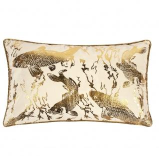 Pad Kissen KOI weiß gold Kissenbezug Fische 30x50 Kissenhülle Pad Concept