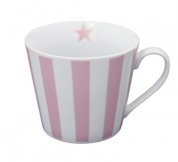 Krasilnikoff Happy Cup Henkel Becher STREIFEN Vertikal Rosa pink Stern Tasse