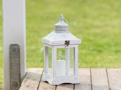 Laterne ROMANTICA 37 cm Gartenlaterne Holz weiß Windlicht Shabby Chic Landhaus