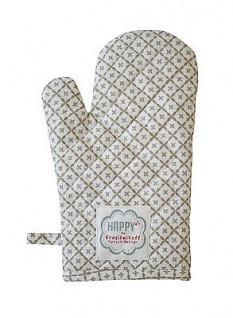 Krasilnikoff Ofenhandschuh Diagonal taupe Baumwolle sand weiß gemustert Topflapp