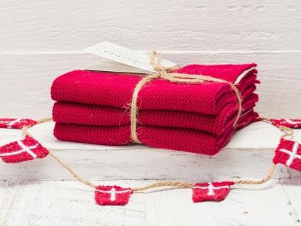 Solwang Wischtuch TIEFES ROT gestrickt 3er Set Küchentuch Spültuch Putztuch