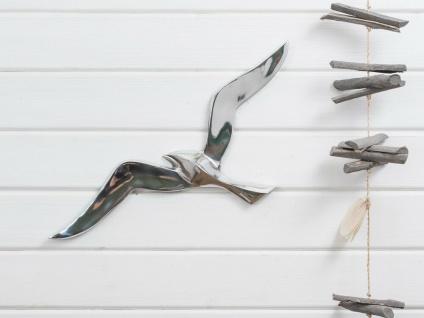 Wandojekt MÖWE 47cm Silber Metall Maritime Deko Objekt Vogel Sommerdeko Wanddeko