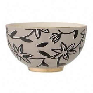 Bloomingville Schale HANNAH grau Keramik Geschirr Goldrand Schüssel Blumen