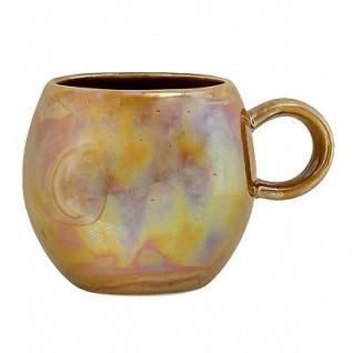 Bloomingville Tasse Paula braun metallic Becher mit Henkel 300 ml Keramik