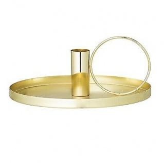 Bloomingville Kerzenhalter gold Kammerleuchte rund Kerzenständer Metal