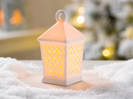 LED Laterne OLAYA weiß 12 cm Porzellan Deko Objekt mit Licht