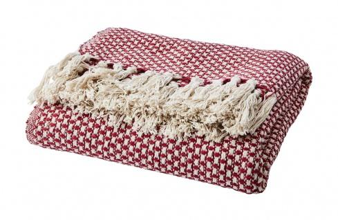 Affari Decke ANNA Rot Recycelt Baumwolle 125x165 Wolldecke Kuscheldecke