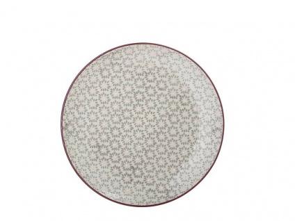 Bloomingville Kuchenteller MAYA Keramik Teller 20 cm Geschirr grau Blumen Design